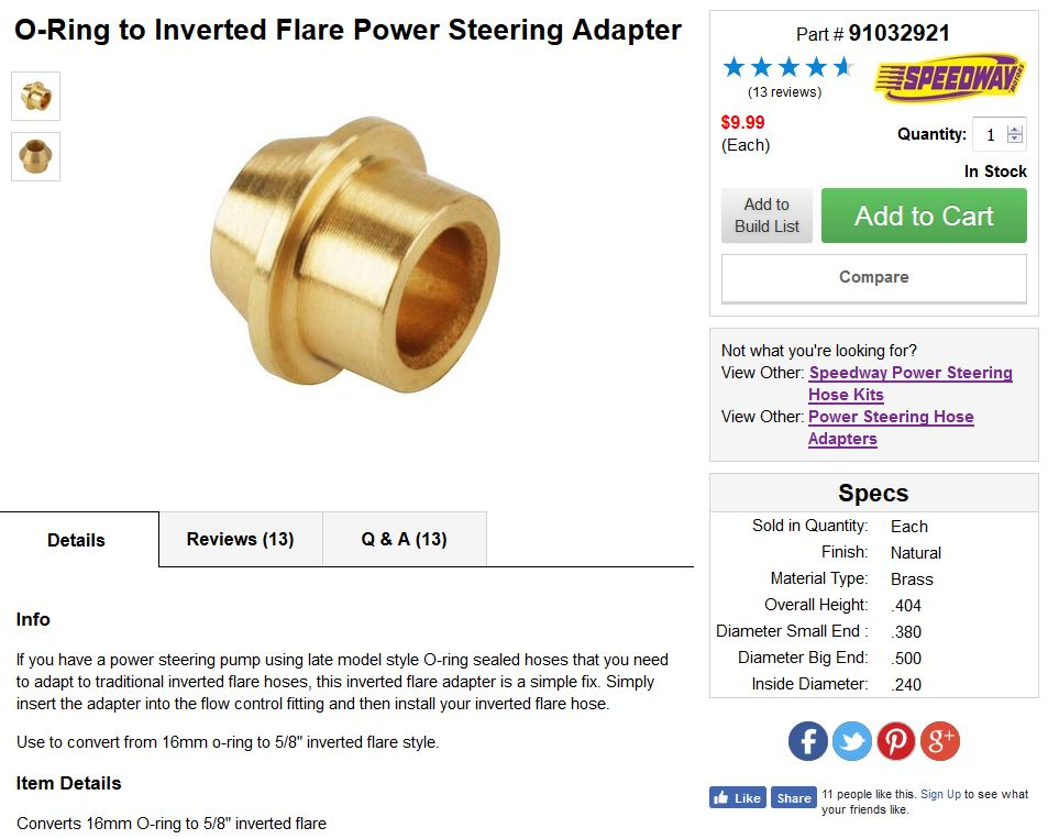 O-Ring to Inverted Flare Power Steering Adapter Brass Fitting adapter